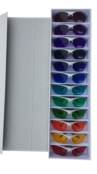 SpektroChrom Color Glasses Set with 12 pairs of color glasses in an exclusive display box - DT12K